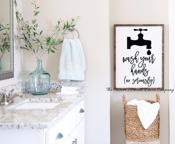 Wash Your Hands Bath Sign, Modern Farmhouse Bath Decor, Hand Washing Sign