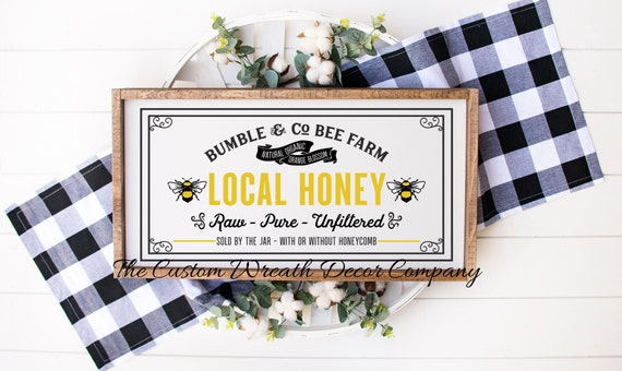 Local Honey Rustic Sign, Rustic Bee Sign