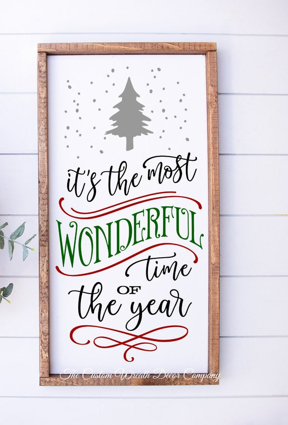 """10""""x 24"""" It's the Most Wonderful Time Of The Year Sign, Christmas Sign, Rustic Holiday Sign, Farmhouse Christmas Sign"""