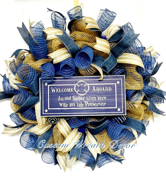 Nautical Mesh Wreath, Sailor Mesh Wreath, Summer Mesh Wreath, Denim Wreath, Burlap Wreath, Everyday Wreath