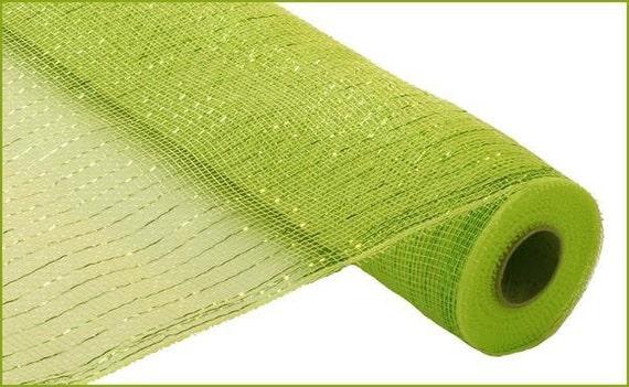 21 inch Yellow Green Metallic Deco Poly Mesh, Yellow Green Metallic Deco Poly Mesh, Deco Poly Mesh Supplies  (10 Yards)