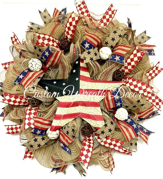 Americana Wreath, Patriotic Wreath, Patriotic Star Wreath, Burlap Star Wreath, Patriotic Deco Mesh Wreath, Red White Blue Wreath