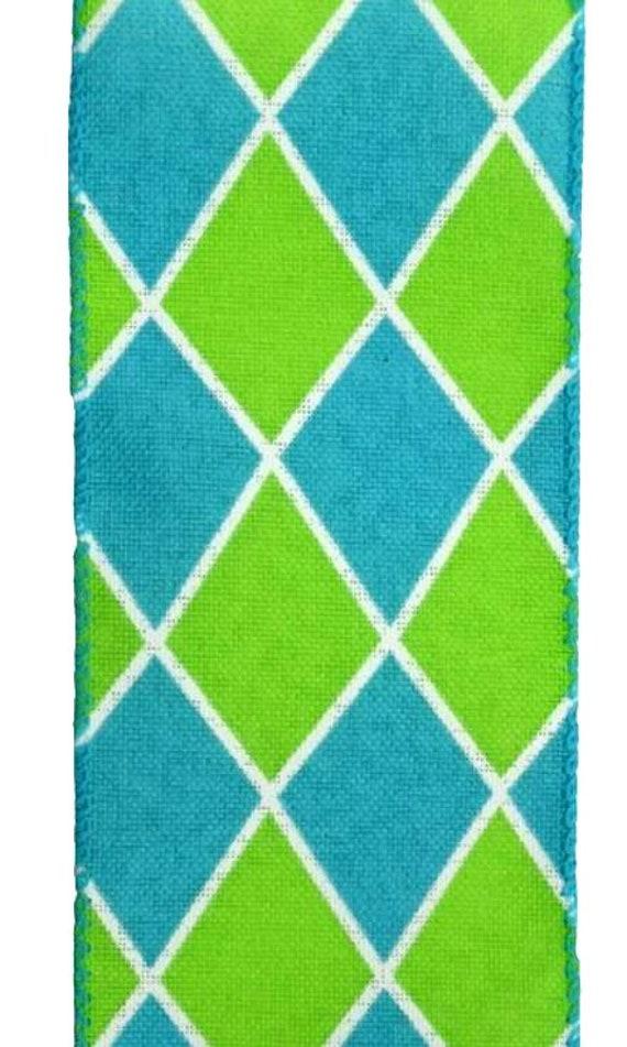 """1.5"""" harlequin diamond turquoise lime canvas ribbon, Lime turquoise harlequin ribbon, Lime Turquoise Wired Ribbon Q916909-33"""