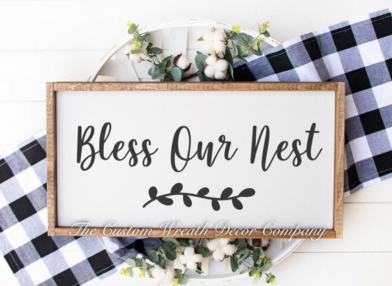 Bless Our Nest Sign, Bless Our Nest Farmhouse Sign, Rustic Farmhouse Sign