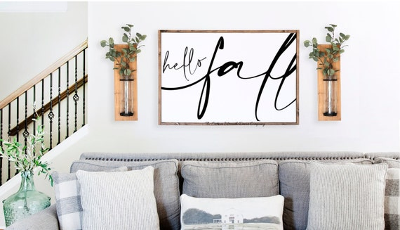 Hello Fall Sign, Rustic Fall Sign
