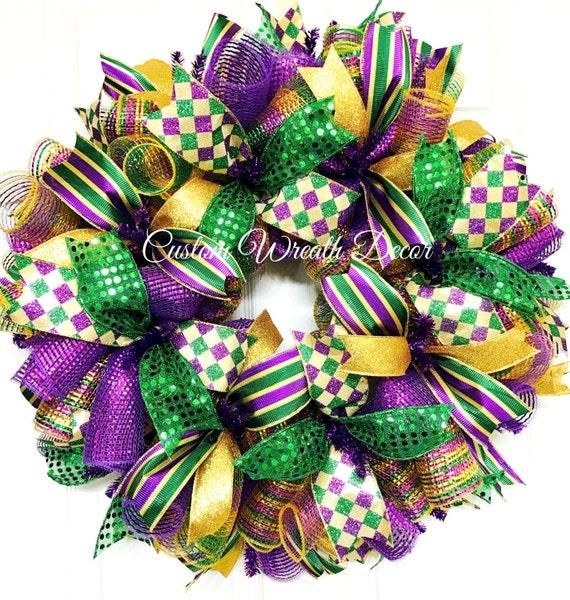 Mardi Gras Wreath, Fat Tuesday Wreath, Mardi Gras Deco Mesh Wreath, Jester Wreath