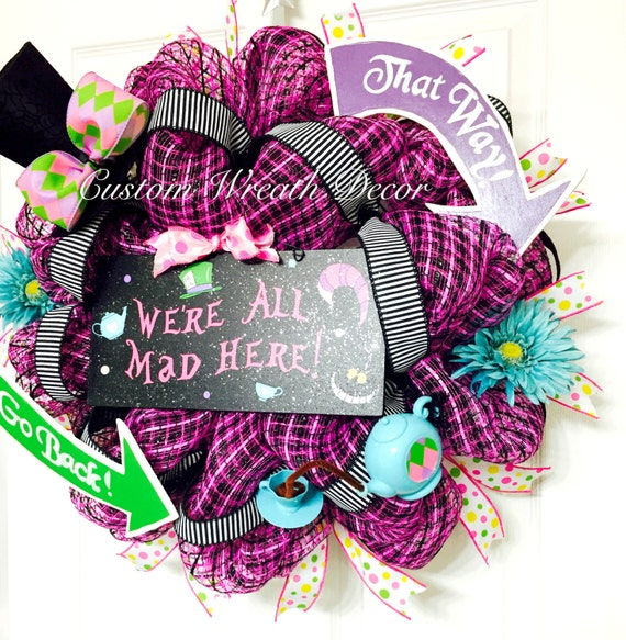 Mad Hatter Wreath, Alice In Wonderland Wreath, We're All Mad Here Wreath, Whimiscal Wreath