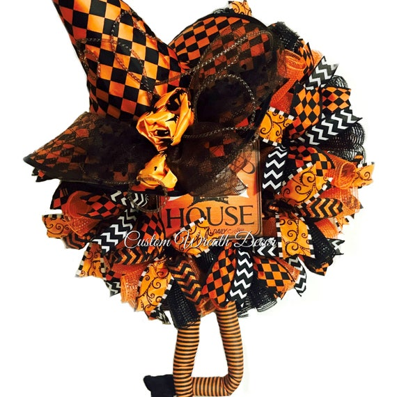 Character Witch Wreath, Orange Black Halloween Witch Wreath, Deco Mesh Witch Wreath, Character Witch Wreath