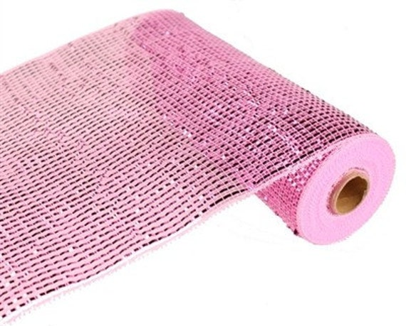 """21"""" Pink Deluxe Wide Foil Poly Deco Mesh RE104122, Pink Wide Foil Mesh"""