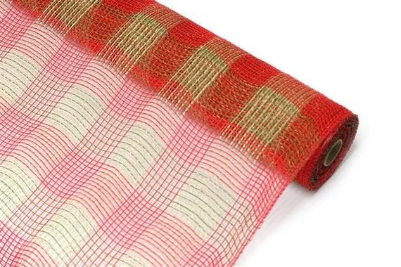 """10"""" Moss Natural Red Plaid Fabric Mesh XB98510-08, Moss Green Red Plaid Fabric Mesh, Moss Green Red Christmas Mesh XB98510-08"""