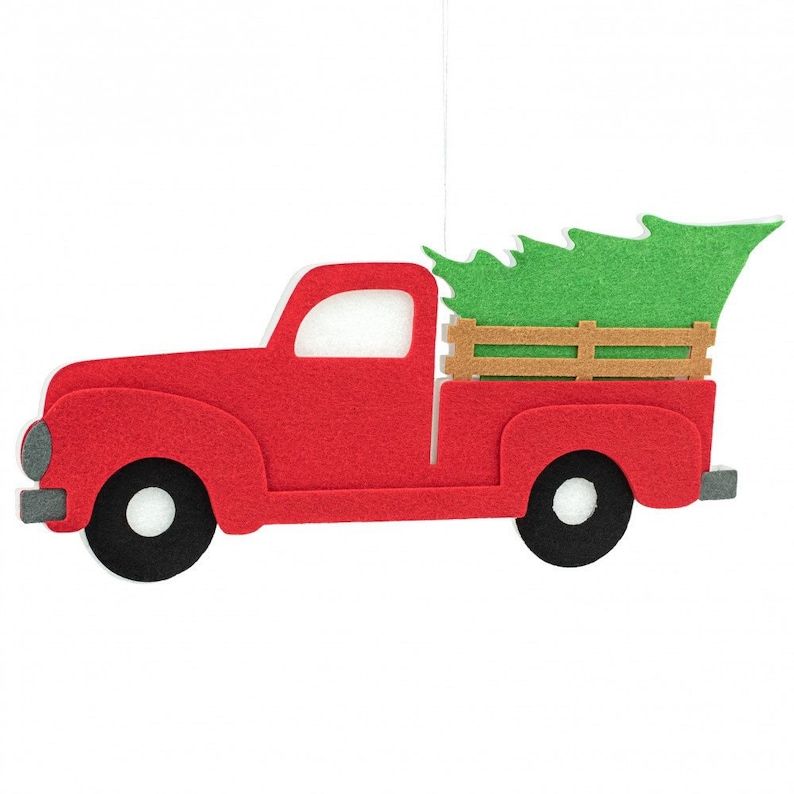 16 Red Vintage Truck With Christmas Tree Decor Ms154524 Etsy