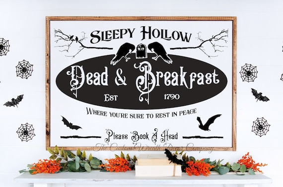 Sleep Hollow Dead & Company Halloween Sign, Sleepy Hollow Sign, Rustic Halloween Sign