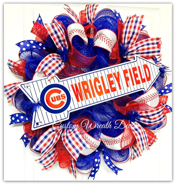 Chicago Cubs Wreath, Cubs Deco Mesh Wreath, Chicago Cubs Baseball Wreath, Cubs Baseball Mesh Wreath