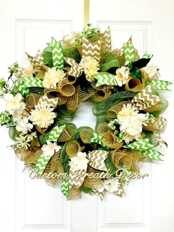 "26"" Year Around Wreath, Moss Green Burlap Wreath, Floral Wreath, Deco Mesh Wreath"