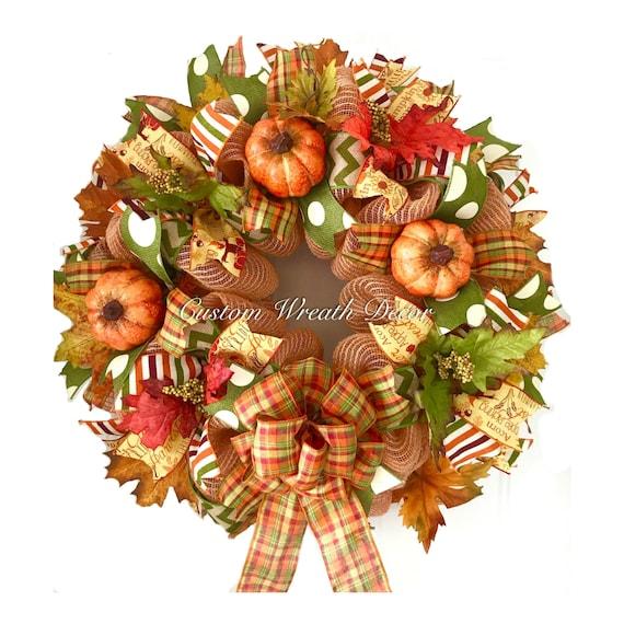 Fall Wreath, Fall Mesh Wreath, Fall Pumpkin Wreath, Fall Leaves Wreath