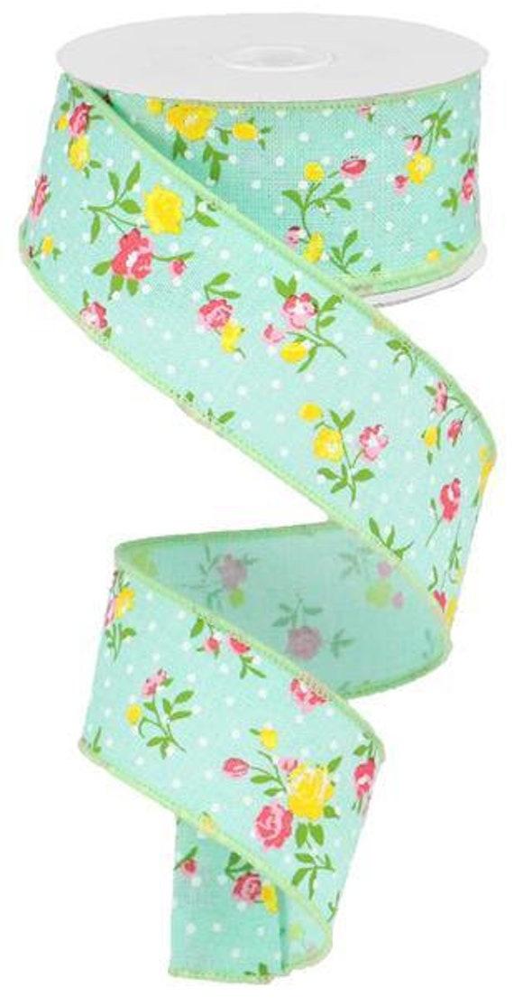 "1.5"" Mint Green Vintage Floral Ribbon RG01953YR"
