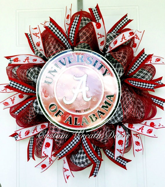 Alabama Wreath, Crimson Tide Wreath, Alabama Football Wreath, Bama Wreath, College Wreath, Alabama Deco Mesh Wreath