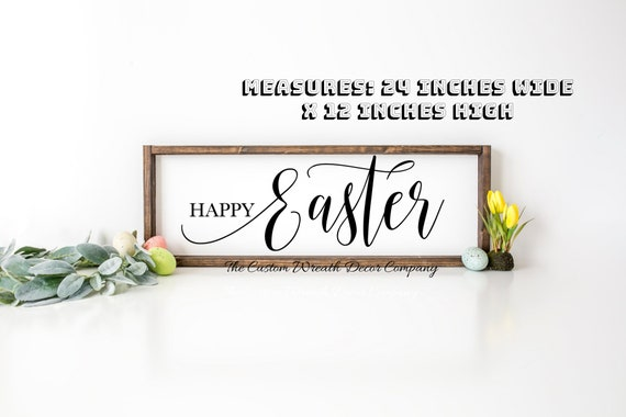 Happy Easter Sign, Rustic Easter Sign