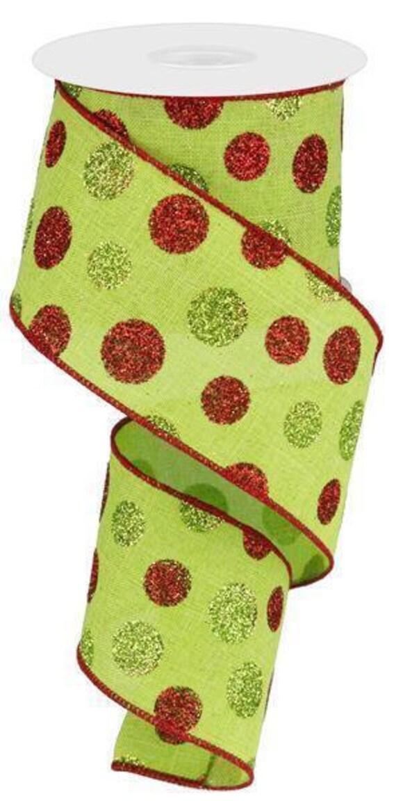 "2.5"" Lime Green Red Polka Dot Ribbon RG01704W1, Lime Polka Dot Ribbon, Lime Red Glitter Polka Dot Ribbon RG01704W1, Christmas Ribbon"