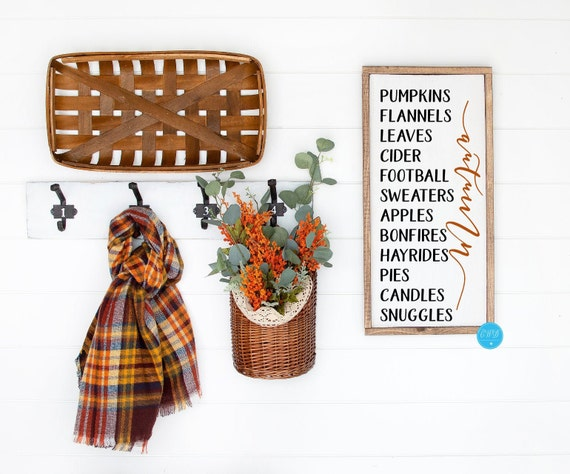 Pumpkins Flannels Leaves Cider Football Sweaters Hayrides Fall Sign, Rustic Autumn Wall Sign