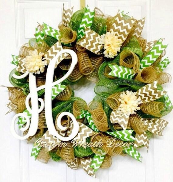 """26"""" Year Around Monogram Wreath-Vine Wreath- Summer Vine Wreath"""