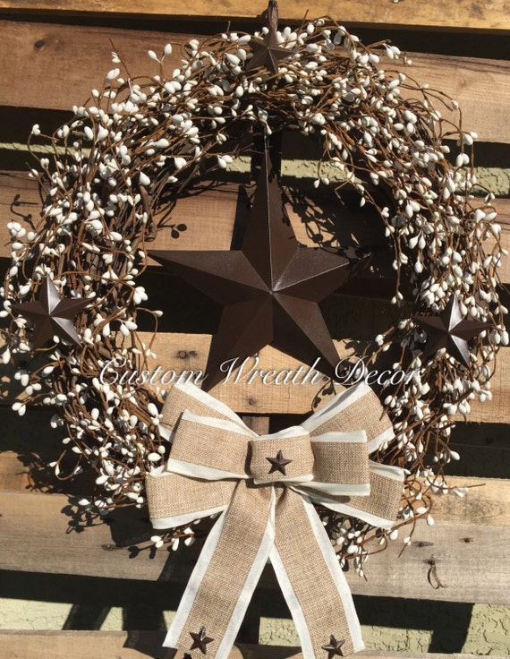 Pip Berry Grapevine Wreath, Pip Berry Wreath, Country Rustic Star Grapevine Wreath