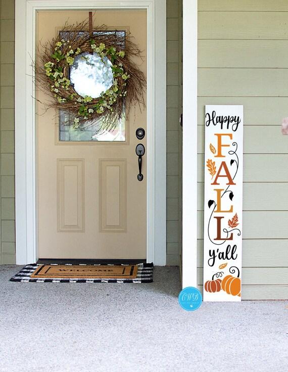 Happy Fall Y'all Porch Sign, Fall Pumpkin Porch Sign