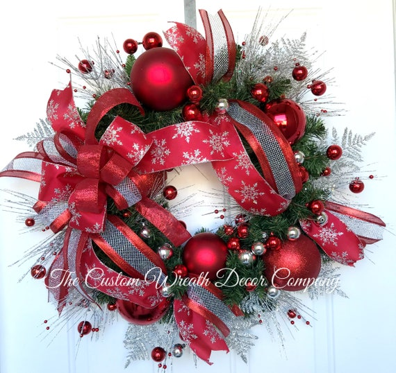 Red Silver Holiday Wreath, Red Silver Christmas Pine Wreath, Red Silver Christmas Wreath, Red Silver Evergreen Wreath