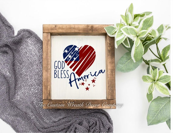 Patriotic Mini Sign, God Bless America Sign, USA Sign, Red White Blue Patriotic Sign