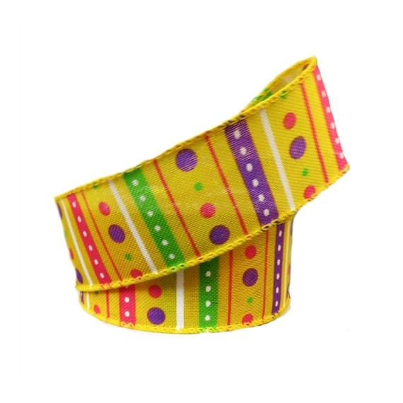 "1.5"" Yellow Multi Dot Stripes Ribbon Q814009-49,  Yellow Lime Lavender Spring Ribbon, Wired Purple Spring Ribbon"