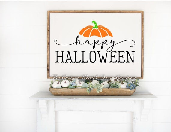 Happy Halloween Sign, Wood Halloween Sign, Farmhouse Halloween Sign