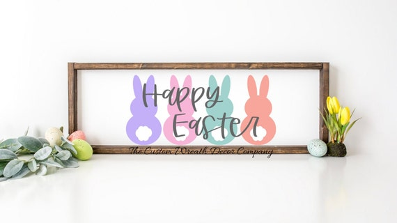 Happy Easter Sign, Rustic Easter Sign, Peeps Easter Sign