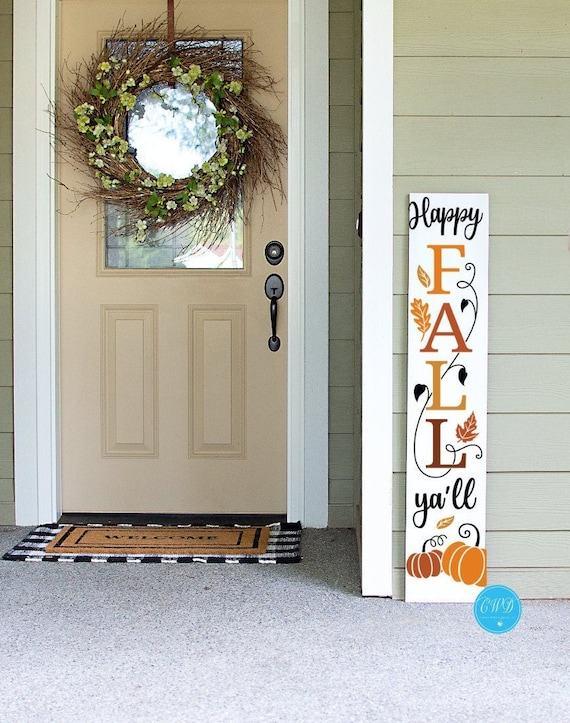 Happy Fall Y'all Porch Sign, Fall Pumpkin Porch Sign