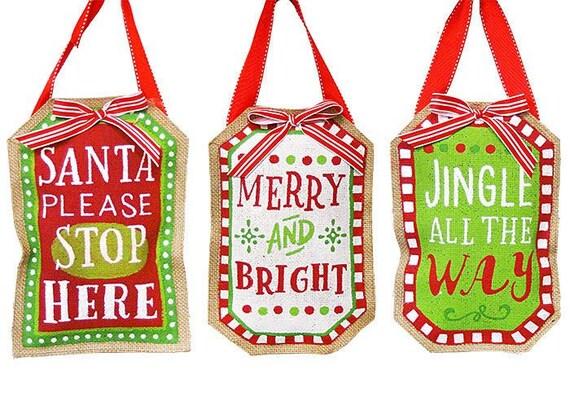 10 inch Burlap Christmas Sign | Red Green White Burlap Christmas Ornament | Santa Please Stop Here Burlap Sign