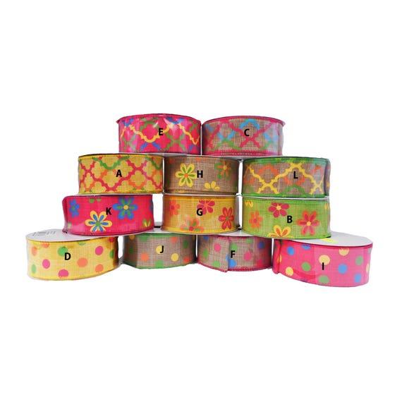 "1.5"" Lime Floral Canvas Dots Ribbon Q613509-02, Lime Green Flowers Ribbon, Lime Spring Ribbon"