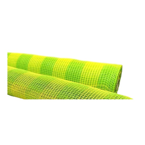 "21"" lime yellow plaid fabric mesh XB990-29, Lime Yellow Deco Mesh XB990-29"