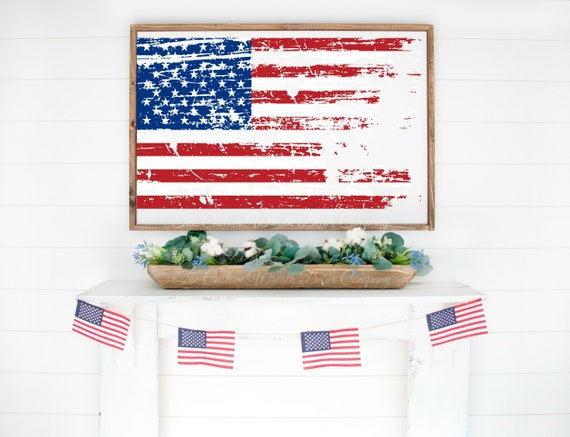 Distressed Patriotic Flag Sign, Distressed USA Flag Sign, Rustic Flag Sign, Red White Blue Flag Sign, USA Wood Flag Sign