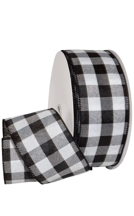 2.5 Inch Black White Woven Check Ribbon (1 yard), Black White Large Check Ribbon, Black White Buffalo Plaid Ribbon (1 yard)