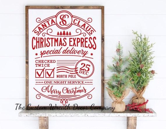 Rustic Christmas Sign, Santa Claus Christmas Sign, Rustic Christmas Farmhouse Sign, December 25TH Christmas Sign