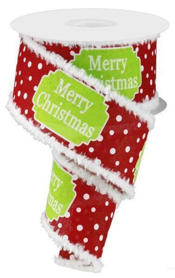 "2.5"" Red Christmas Snowdrift Ribbon RG8749T9, Red White Lime Christmas Ribbon, Red White Lime Wired Christmas Ribbon"