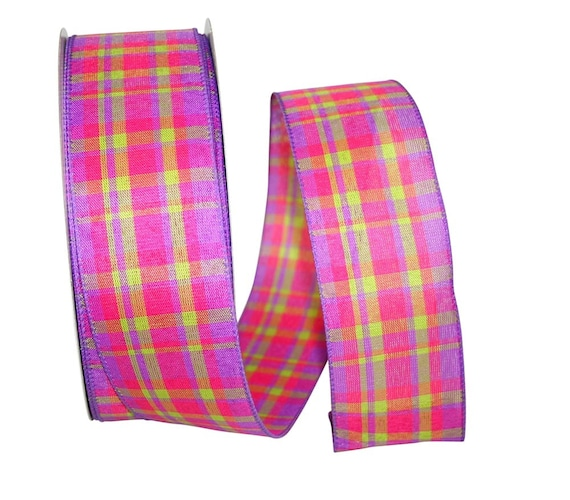 "2.5"" Fuchsia Plaid Ribbon, Easter Plaid Ribbon, Wired Easter Ribbon, Wired Spring Ribbon"