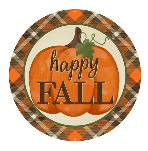"12"" Happy Fall Pumpkin Sign MD0431, Orange Brown Green Cream Pumpkin Sign"