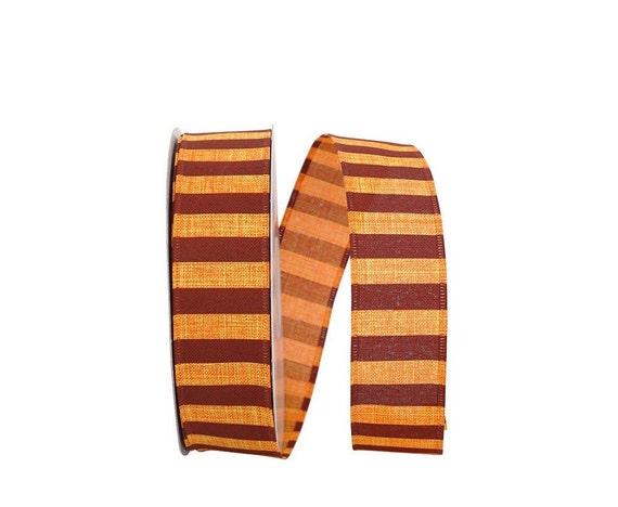 "1.5"" Orange Harvest Stripe Ribbon, Autumn Ribbon, Orange Linen Ribbon, Fall Ribbon, Harvest Ribbon, Deco Mesh Wreath Supplies (5 Yards)"