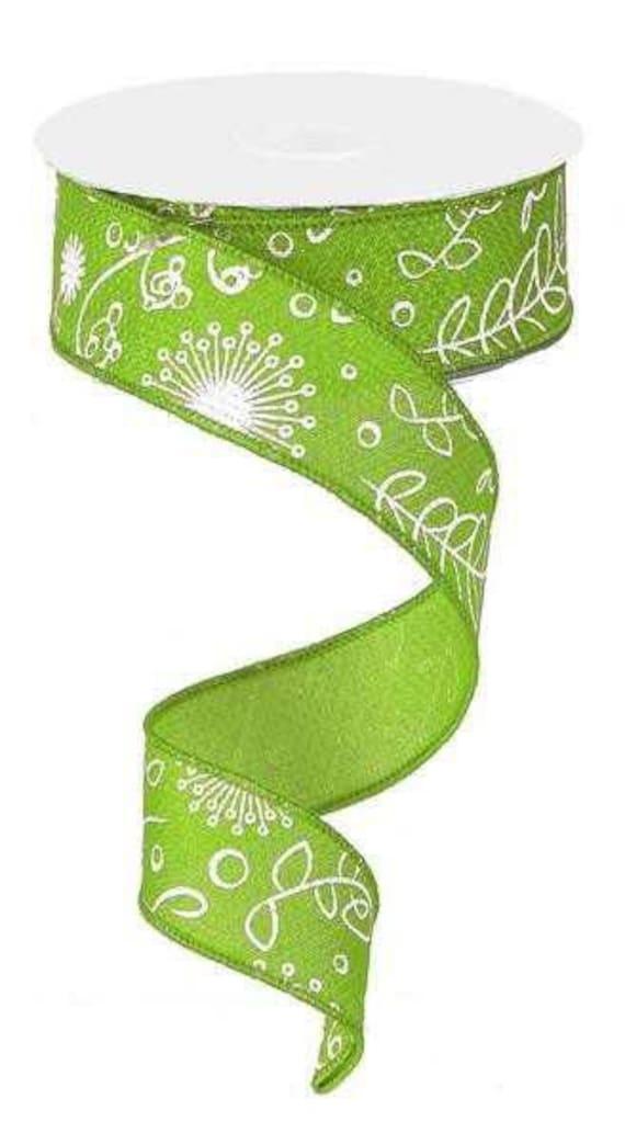 """1.5"""" Lime Green Faux Burlap Ribbon, Lime Cross Royal Plant Ribbon, Lime White Wired Ribbon, RG1468E9"""