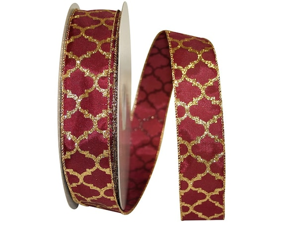 "1.5"" Burgundy Gold Glitter Ribbon, Burgundy Gold Glitter Trellis Ribbon, Florida State Ribbon"