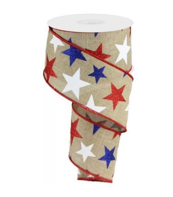 "2.5"" Beige Patriotic Star Ribbon RG0192601, Burlap Patriotic Ribbon, Wired Patriotic Ribbon"