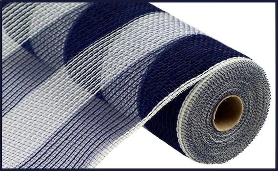 10.5 inch Navy Blue Ivory Wide Stripe Mesh RY830082