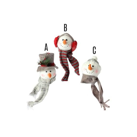 4.5 inch Raz Snowman Scarf Head Ornaments 3616200, Red Grey Snowman Head Ornament 3616200