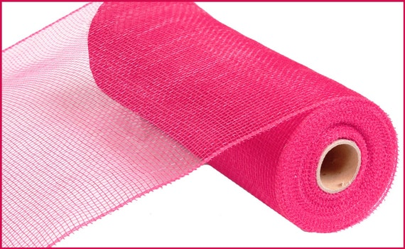 "10"" Hot Pink Deco Mesh RE800211, Hot Pink Deco Poly Mesh, Fuchsia Deco Mesh, Wreath Supplies  (10 yards) - RE800211"