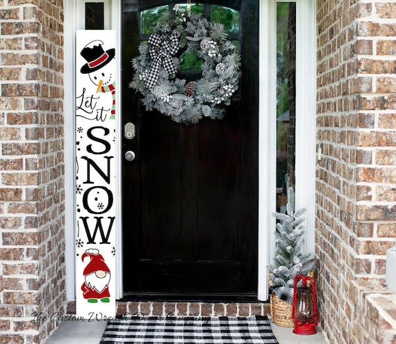 Let It Snow Christmas Porch Sign, Christmas Porch Leaner, Snowman Porch Sign, Gnome Christmas Sign